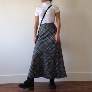 Limité - Grey & Black Plaid Maxi Skirt